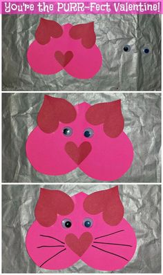 Valentines Day: Valentine Heart Cat Craft For Kids -
