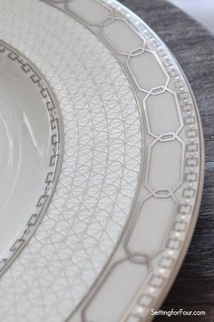 Geometric pattern plates - beautiful new dinnerware design! #tablesetting #ad