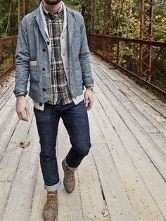 Shop this look for $204: http://lookastic.com/men/looks/boots-and-jeans-and-longsleeve-shirt-and-shawl-cardigan-and-denim-jacket/490 — Brown Suede Boots — Navy Jeans — Olive Plaid Longsleeve Shirt — Grey Shawl Cardigan — Blue Denim Jacket