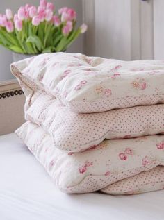 Handmade Vintage Style Eiderdowns {Single & Doubles now available} From - Peony & Sage Rose Cottage, Cottage Style, White Cottage, Textiles, Rustic Bedroom Design, Bedroom Designs, Cot Blankets, Estilo Shabby Chic, Pink Tulips