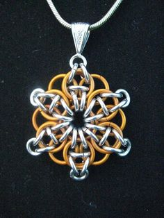 Chainmaille Pendant  Celtic Visions in Orange by SaltCityChains, $20.00