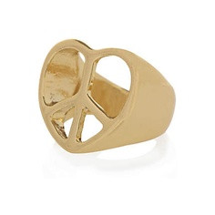 gold tone heart shaped peace sign ring - rings / belly bars - jewellery - women - River Island