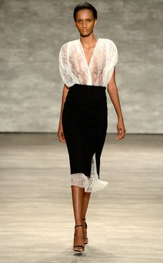 Tome from NSFW at NYFW  Another sheer top. Noticing a nipple-baring trend here?