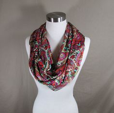 Infinity Scarf in Multicolored Paisley Print Handmade Lightweight Scarf Spring Scarf Summer Scarf