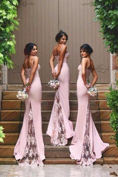 Spaghetti Straps Lace Bridesmaid Dress,New Arrival Pink Bridesmaid Dresses Quality Mermaid Bridesmaid Dresses,See Through Back Bridesmaid Gowns,Custom Made Wedding Party Dress,Long Bridesmaid Dress BUT IN BLACK Pink Bridesmaid Dresses Uk, Bride Maid Dresses, Backless Bridesmaid Dress, Bohemian Bridesmaid, Black Bridesmaids, Bridesmaid Outfit, Brides And Bridesmaids, Mermaid Dresses, Lace Mermaid
