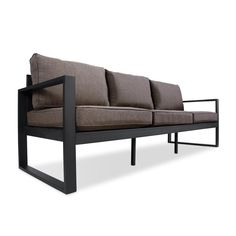 Real Flame Baltic 3 Seat Outdoor Sofa in Black Patio Loveseat, Sectional Sofa, Outdoor Seating, Outdoor Chairs, Lounge Furniture, Outdoor Furniture, Furniture Stores, Furniture Ideas, Modern Furniture