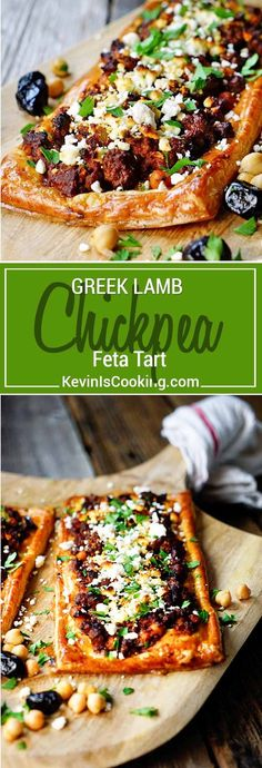This Greek Lamb Chickpea and Feta Tart is made with warm. This Greek Lamb Chickpea and Feta Tart is made with warm spices ground lamb olives feta cheese and puff pastry. Delivers big on flavor! via Kevin Is Cooking Greek Recipes, Meat Recipes, Real Food Recipes, Cooking Recipes, Healthy Recipes, Turkey Recipes, Chicken Recipes, Savory Pastry, Puff Pastry Recipes