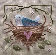 Bluebird nest.  Cross stitch.  Repinned by www.mygrowingtraditions.com