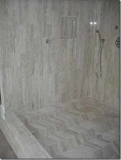 this #herringbone #marble #shower floor is amazing