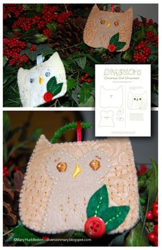 Christmas Owl Ornament Pattern (again..I soooo wish I could sew!! -_- That pale lil owl - and the bottom one too! - is beaaautiful! <3)