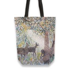 Adorable deers Totebag by Florian Ivan ( from Thing 1, Canvas Tote Bags, Hand Sewing, Reusable Tote Bags, Prints, Cotton, Stuff To Buy, Sewing By Hand, Canvas Totes
