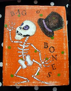 Bag o' Bones Skelly Mixed Media Painting by bywayofsalem on Etsy