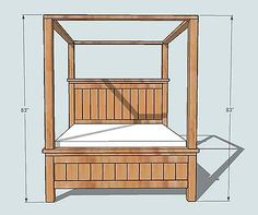 Farmhouse CANOPY BED plans from the amazing Ana White. Maybe someday I'll be crazy enough to try this. King Farmhouse Bed, Farmhouse Canopy Beds, White Farmhouse, Farmhouse Table, Ana White, Diy Furniture Plans, Bedroom Furniture, Farmhouse Furniture, Modern Furniture