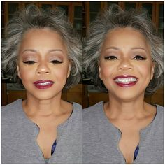 Unsure if her hair highlights the makeup or if the makeup highlights her hair, either way Ms. Danielle is stunning! 😍😍 #GrayHair…