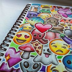 emoji, art, and emojis image Amazing Drawings, Beautiful Drawings, Cute Drawings, Drawing Sketches, Pencil Drawings, Amazing Art, Emoji Drawings, Creation Art, Wall E