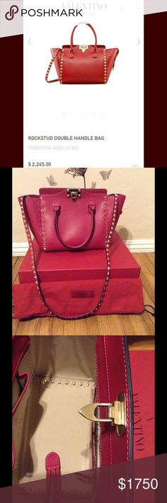 "AUTHENIC Valentino Rockstud Valentino Garavani Rockstud handbag. Used twice.  Excellent condition.  Practically new.  Come with box, dust bag, original tag and Poshmark authenticity card.  Can provide more photos upon request.  Dimensions:  W9"" x H8"" x 5.5"" Valentino Bags Shoulder Bags"