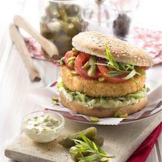 Fish burger sauce aux cornichons Amora® et estragon