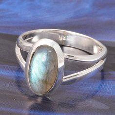 NEW DESIGNER 925 STERLING SILVER LABRADORITE RING 3.69g DJR4869 #Handmade #Ring