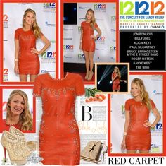 """""""Red Carpet Look: Blake Lively At 121212 Concert Relief For Hurricane Sandy"""" by shazgoldcoast ❤ liked on Polyvore"""