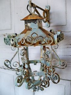 Shabby chic scroll work metal lantern candle by AnitaSperoDesign, $65.00