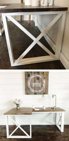 DIY L Shaped Office Desk - Shiplap Coated with Minwax Provincial and Behr White Paint - Free Woodworking Plans