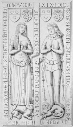 Effigy of Elisabeth von Erbach Dated 1368. Outer dress has interesting tippets and buttons down the full length.