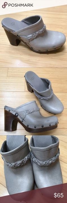 UGG Jolene heeled clog, 7. Really cute gray UGG Jolene heeled clogs, size women's 7, style F290. Heel height is 4 inches. Pre-loved, one light  smudge on the side, very good condition. Metal brad detailing around the sole. Light to mid gray. UGG Shoes Mules & Clogs
