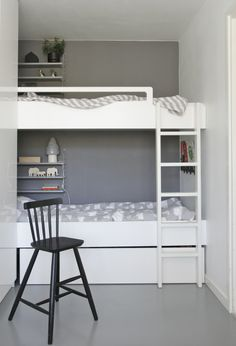 """Like the set up of these bunkbeds.  Each bunk has a set of shelves and it shows that you can put a big cabinet right up to the bed without it looking cramped.  It actually looks more fun and """"secret hideout""""-ish."""
