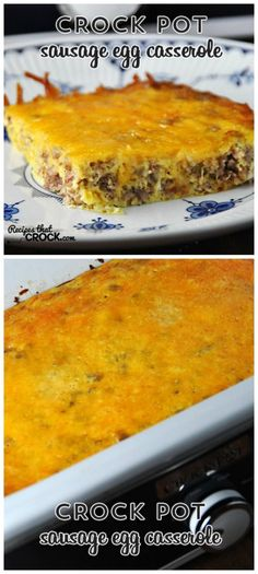 Crock Pot Sausage Egg Casserole from Recipes that Crock is low-carb, gluten-free, and South Beach Diet Phase One. You can make this in a large oval slow cooker if you don't have a Casserole Crock. [featured for Casserole Crock Saturdays on SlowCookerFromScratch.com]