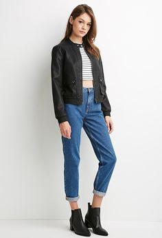 Faux Leather Flap-Pocket Bomber Jacket