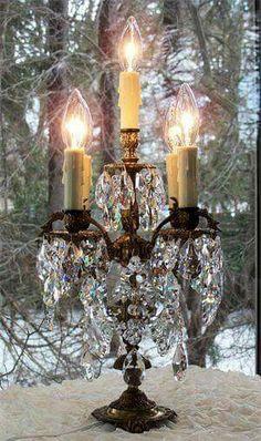 Vintage Brass Bronze Crystal Candelabra Table by sheriscrystals Chandelier Bougie, Lantern Chandelier, Antique Chandelier, Antique Lamps, Antique Lighting, Candle Lanterns, Chandelier Lighting, Chandeliers, Candels