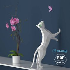 Kittens kissing (DIY Low Poly Papercraft): turn these 2 PDF files into real paper cats using scissors & glue. Low Poly, Chat 3d, Statue, Diy Unicorn, 3d Art, Arte Popular, Popular Pins, Animal Heads, Arts And Crafts