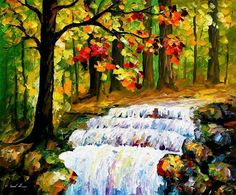 Stream oil painting  Spring Stream  Stream by AfremovArtStudio