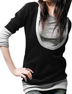 58166057b5f Allegra K Women Long Sleeve Drawstring Layered Hooded Tunic Top at Amazon  Women s Clothing store