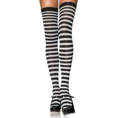 Plus size black and white striped thigh high stockings. Plus Size Black and White Thigh High Stockings, Plus Size Striped Stockings Striped Stockings, Fishnet Stockings, Striped Socks, Striped Thigh High Socks, Patterned Socks, Thigh High Tights, Thigh Highs, Gothic Outfits, Victorian Outfits