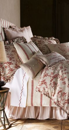 #Soft #Furnishings for the bedroom - French Laundry in raspberry and white, so pretty.. http://www.myrenovationstore.com