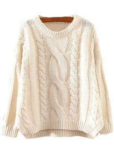 Beige Round Neck Split Cable Knit Sweater