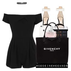 """8/14/16"" by codeineweeknds ❤ liked on Polyvore featuring Topshop, Gianvito Rossi, NARS Cosmetics, Jimmy Choo and Givenchy"