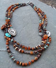 brown orange silver turquoise necklace