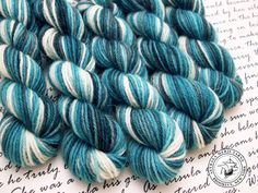 Waves Mini Skein / Fingering Weight / 75/25 Superwash Wool Nylon Blend Sock Yarn by AstraeaMeris on Etsy