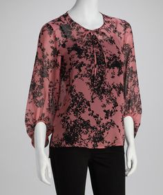 Take a look at this Pink Sheer Leaf Top by kensie on #zulily today!