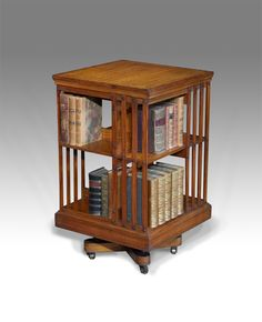 Antique Revolving Bookcase Rare Satinwood Revolving Bookcase. With Kingwood  Cross Banding, And Ebony