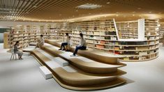 Library architecture - Kikuchi City Central Library by Nomura Co , LTD 2018 Best of Year Winner for Library – Library architecture Public Library Design, Bookstore Design, City Library, Central Library, Modern Library, Central City, Library Books, Office Interior Design, Office Interiors