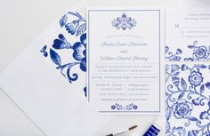 China Patterned Inspired Wedding Invitation by seahorsebendpress
