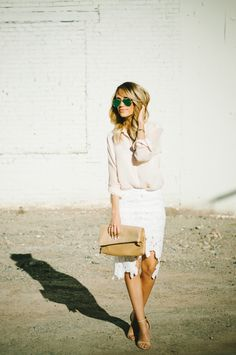 Top: TopShop  / Similar HERE Skirt: Chicwish / Love THIS Heels: Zara Clutch: Nordstrom  Sunnies: Ray Ban