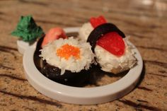 Dessert sushi for A Pair of Red clogs