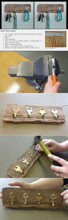 Key hooks. I like this idea for my garage or laundry room but I'd paint the keys and mount them onto a painted board.