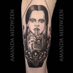 Wednesday Addams Tattoo by Amanda Meowzen #AmandaMeowzen #Wednesday #Addams…