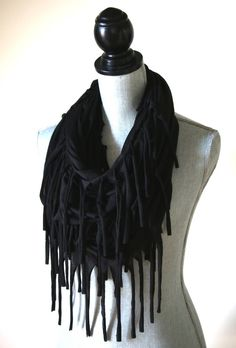Jersey Knit Fringe Infinity Scarf Diy Belts, Infinity Scarfs, Beautiful Scarves, Long Fringes, Hipster Fashion, Burning Man, Shawls, Recycling, Cute Outfits