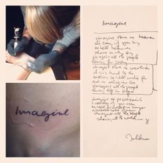Imagine - John Lennon - handwriting tattoo.